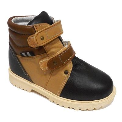 Обувь ортопедическая детская «Аюрведа 00-4» комбинированная коричнево-черная