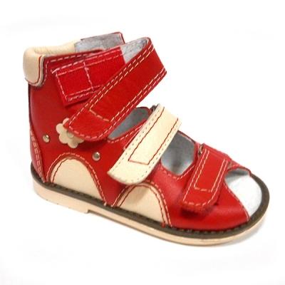 Детская ортопедическая обувь «Аюрведа 00-1» 18-22 см красно-бежевая